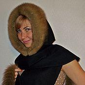 Аксессуары handmade. Livemaster - original item cashmere hood with sable fur. Handmade.