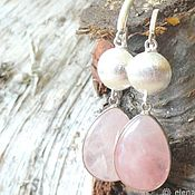 Earrings handmade. Livemaster - original item Earrings rose quartz silver, large earrings with pink quartz silver. Handmade.