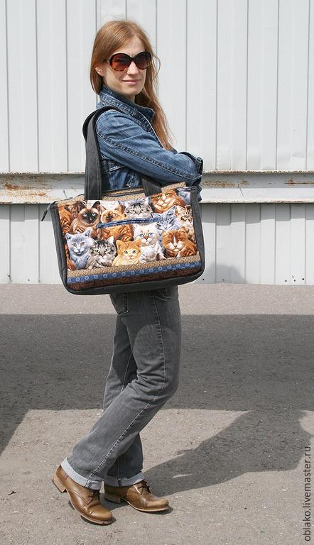 Женские сумки ручной работы. Ярмарка Мастеров - ручная работа. Купить Котосумка 129. Handmade. Разноцветный, коты и кошки