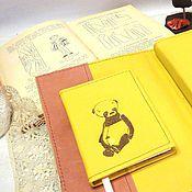 Материалы для творчества ручной работы. Ярмарка Мастеров - ручная работа Блокнот мастера Вышитый логотип этикетки визитки кожа Подарок женщине. Handmade.