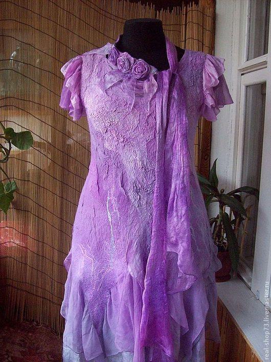 Платья ручной работы. Ярмарка Мастеров - ручная работа. Купить Валяное платье Сиреневые грезы. Handmade. Абстрактный, Мокрое валяние