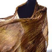 Аксессуары handmade. Livemaster - original item Women`s scarf silk bronze light brown pressed long. Handmade.