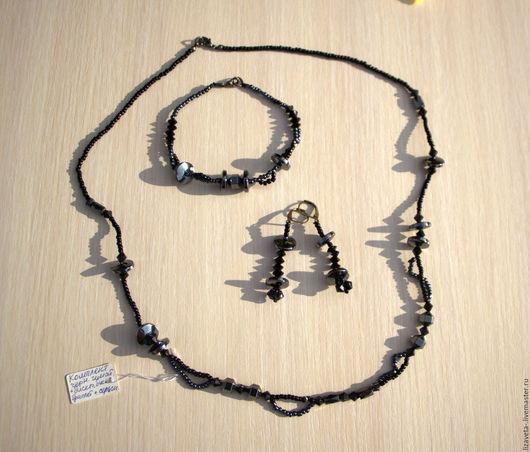 Комплекты украшений ручной работы. Ярмарка Мастеров - ручная работа. Купить Комплект: колье, браслет, серьги. Handmade. Черный