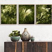 Картины и панно handmade. Livemaster - original item Photo paintings for living room interior Watercolor forest leaves 2. Handmade.