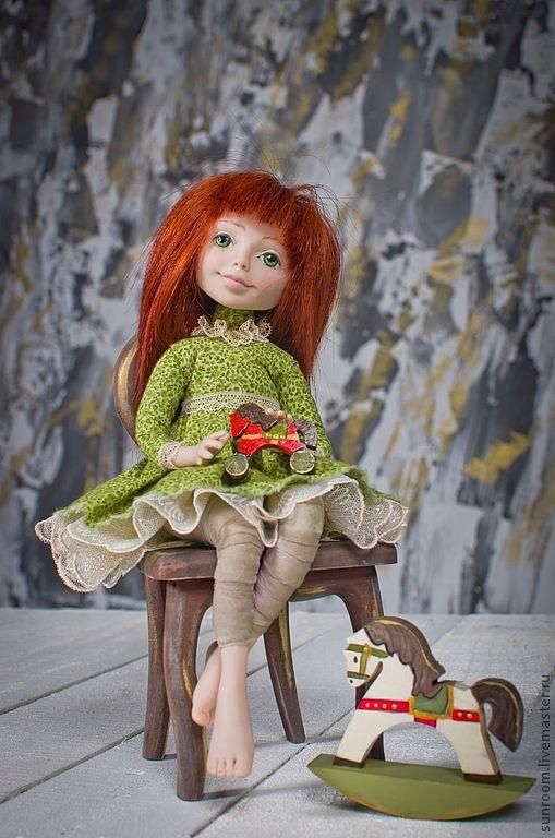 Коллекционные куклы ручной работы. Ярмарка Мастеров - ручная работа. Купить Бекки. Handmade. Оливковый, кукла, лошадка-качалка