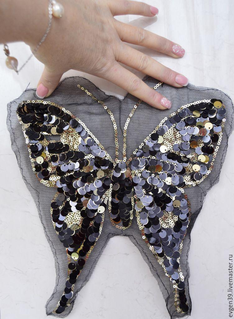Вышивка пайетками бабочки