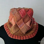 Аксессуары handmade. Livemaster - original item Brown Snood knitted pink scarf tube interlock. Handmade.