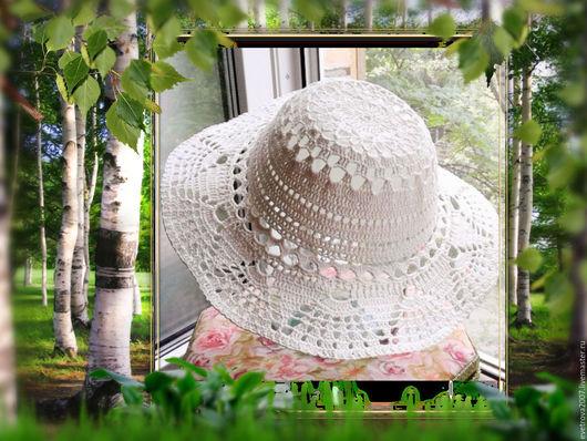 Шляпы ручной работы. Ярмарка Мастеров - ручная работа. Купить Шляпа вязаная. Handmade. Белый, шляпа с полями, шляпа летняя
