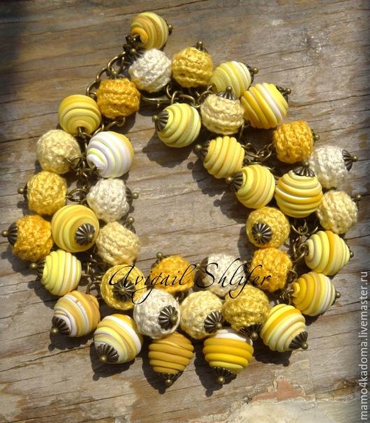 Комплекты украшений ручной работы. Ярмарка Мастеров - ручная работа. Купить Желтый комплект серьги и браслет. Handmade. Желтый, серьги