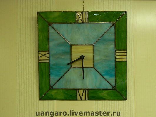 Часы для дома ручной работы. Ярмарка Мастеров - ручная работа. Купить Часы настенные, витраж. Handmade. Стекло, Витраж, Декор