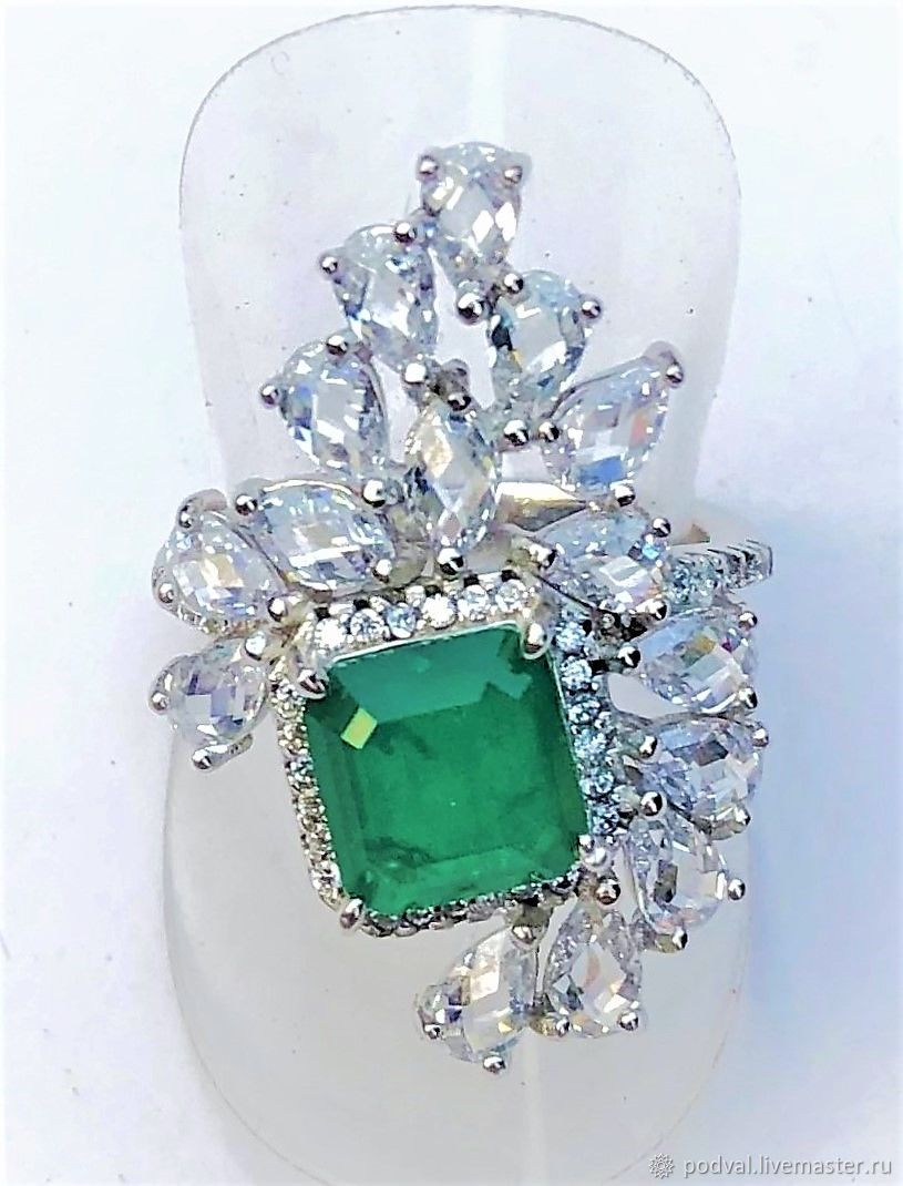 Silver ring with natural emerald 'Queen'(p 17), Rings, Korolev,  Фото №1