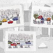 Картины и панно ручной работы. Ярмарка Мастеров - ручная работа Летние городские прогулки. Handmade.
