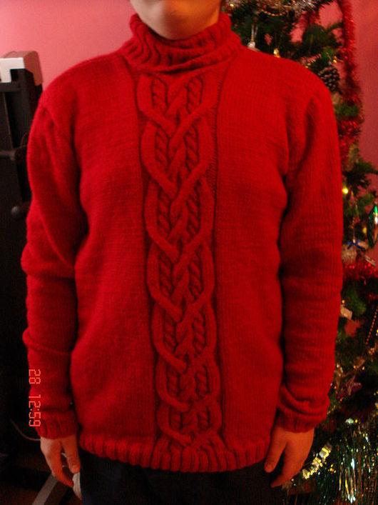 Кофты и свитера ручной работы. Ярмарка Мастеров - ручная работа. Купить Свитер красный. Handmade. Ярко-красный, мужской подарок