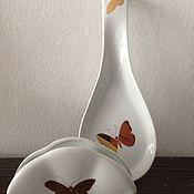"""Посуда ручной работы. Ярмарка Мастеров - ручная работа Салфетница и ложка-подставка """"Золотые бабочки"""". Handmade."""