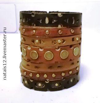 """Браслеты ручной работы. Ярмарка Мастеров - ручная работа. Купить браслет """"ШангриЛа-шоколад"""". Handmade. Кожаный браслет, широкий браслет"""