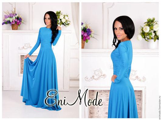 Платья ручной работы. Ярмарка Мастеров - ручная работа. Купить Длинное платье класса LUXURY в нежно-голубом цвете с длинным рукавом. Handmade.