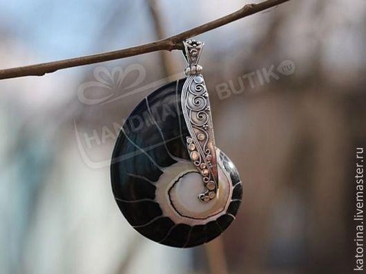 Для украшений ручной работы. Ярмарка Мастеров - ручная работа. Купить Кулон из раковины черного наутилуса в серебре. Handmade. Наутилус