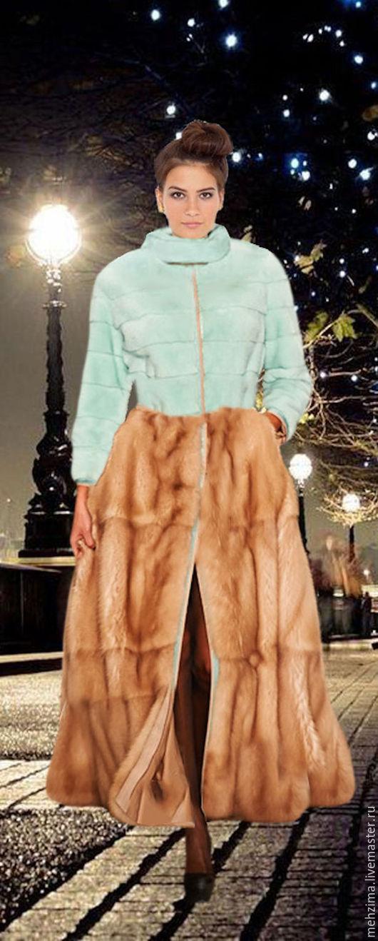 Верхняя одежда ручной работы. Ярмарка Мастеров - ручная работа. Купить Шуба из крашеной цветной норки с юбкой. Handmade. Комбинированный