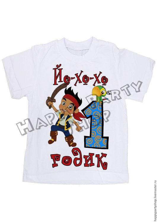 """Одежда для мальчиков, ручной работы. Ярмарка Мастеров - ручная работа. Купить Детская футболка на 1 год """"Джек из Нетландии"""". Handmade. Белый"""