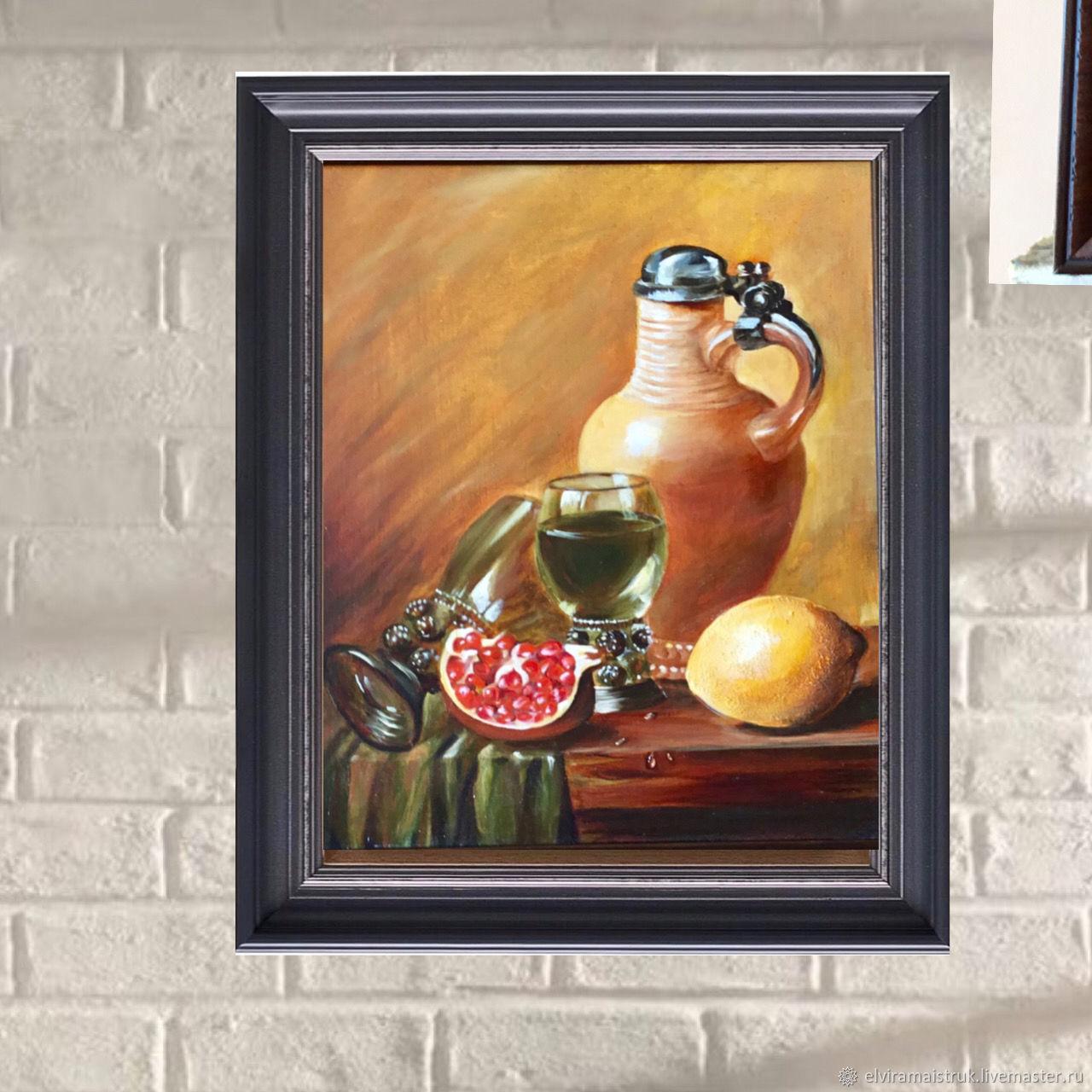 Oil painting lemon pomegranate jug glasses, Pictures, St. Petersburg,  Фото №1