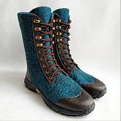 Обувь ручной работы handmade. Livemaster - original item Felted high boots with leather and track lacing. Handmade.