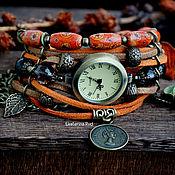"""Часы наручные ручной работы. Ярмарка Мастеров - ручная работа Замшевые, рыжие женские часы с раухтопазом """"Время пряностей"""". Handmade."""