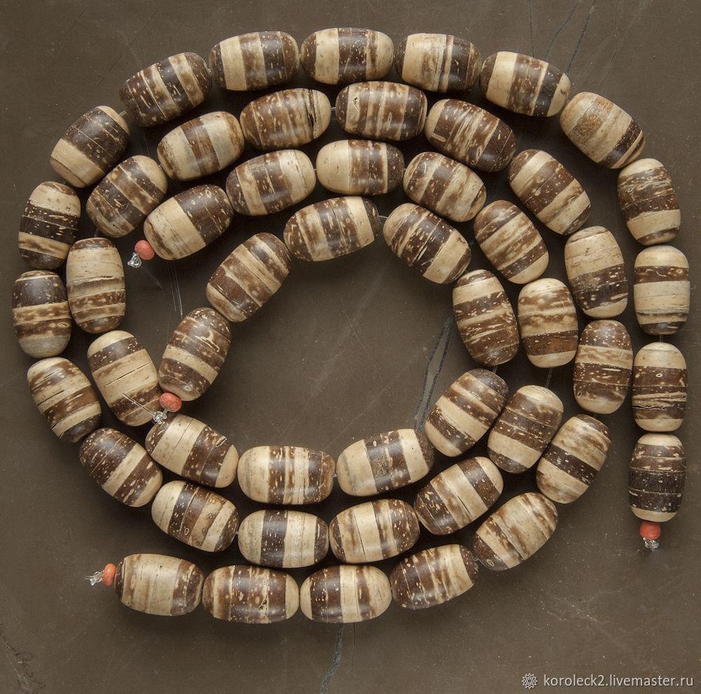 Овальные бусины из тигрового кокоса 15 мм, Бусины, Москва,  Фото №1