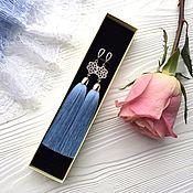 Украшения handmade. Livemaster - original item Earrings-brush Frosty sky blue light blue SIZ. Handmade.