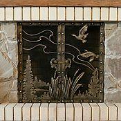 Кованая каминная решётка с декоративными элементами из металла