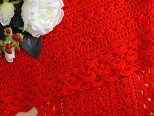 Шарфы и шарфики ручной работы. Ярмарка Мастеров - ручная работа. Купить Красный ажурный шарф. Handmade. Ярко-красный, картинка