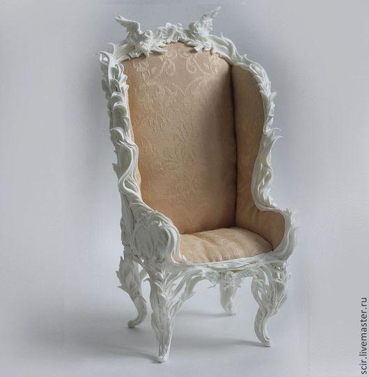 Кукольный дом ручной работы. Ярмарка Мастеров - ручная работа. Купить Кресло (стул) для кукол и мишек белый  (масштаб 1:4) (стул для куклы). Handmade.