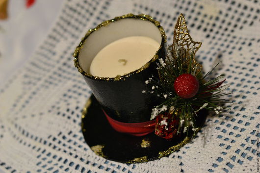 """Новый год 2017 ручной работы. Ярмарка Мастеров - ручная работа. Купить свеча в стакане """"Шляпа волшебника"""". Handmade. Черный"""