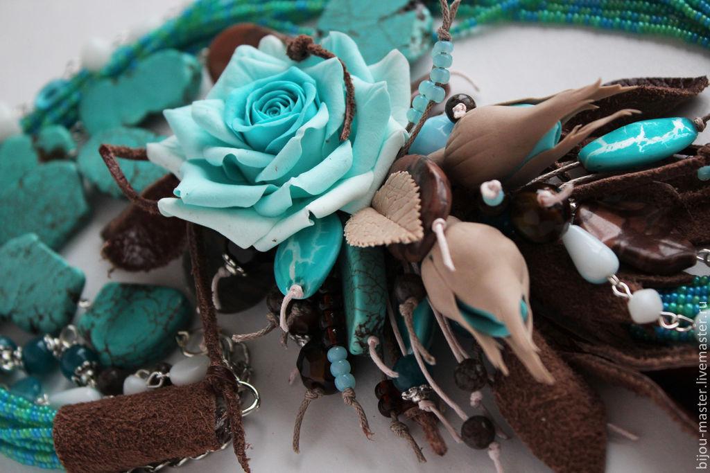 Бирюзово коричневые цветы