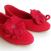 Обувь ручной работы handmade. Livemaster - original item Red felted mallow Slippers. Handmade.