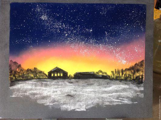 Пейзаж ручной работы. Ярмарка Мастеров - ручная работа. Купить В тёмную ночь.... Handmade. Тёмно-синий, ночь, небо