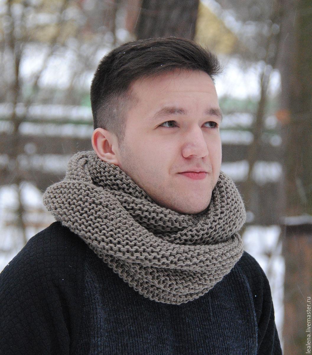 Мужской шарф-снуд серо-бежевый (полушерсть) – купить в ...