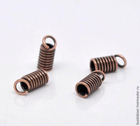 Концевики для шнура `Античная медь` - 9х4мм