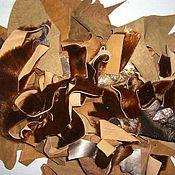 Материалы для творчества ручной работы. Ярмарка Мастеров - ручная работа набор натуральной замши рыжего  цвета с мехом  для творчества. Handmade.