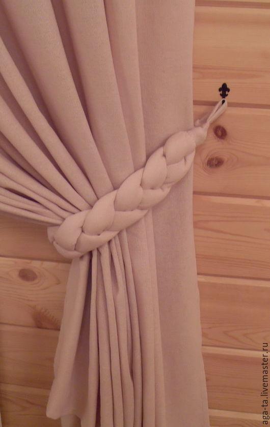 Подхват `Коса`. Шторы для деревянного дома.  Ручная работа.