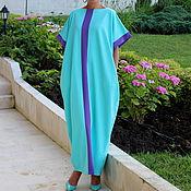 Одежда ручной работы. Ярмарка Мастеров - ручная работа Бирюзовое длинное летнее макси платье, кафтан, абайя больших размеров. Handmade.