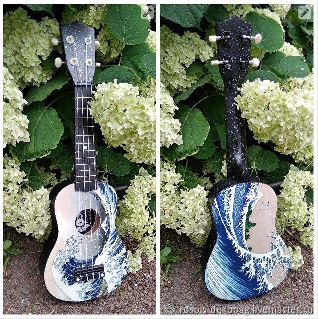 """Картины цветов ручной работы. Ярмарка Мастеров - ручная работа. Купить Укулеле """"Великая Волна"""" (сопрано) гавайская гитарка. Handmade."""