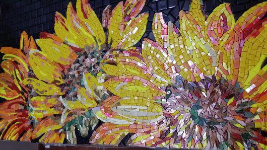 """Картины цветов ручной работы. Ярмарка Мастеров - ручная работа. Купить Мозаика, Панно """"Подсолнухи"""". Handmade. Разноцветный, уютный дом"""