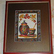 """Картины и панно ручной работы. Ярмарка Мастеров - ручная работа Вышитая картина """"Хохлома"""". Handmade."""