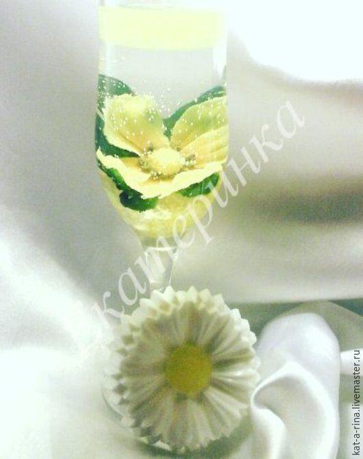 Свечи ручной работы. Ярмарка Мастеров - ручная работа. Купить Цветы в бокале. Handmade. Комбинированный, гель, цветы