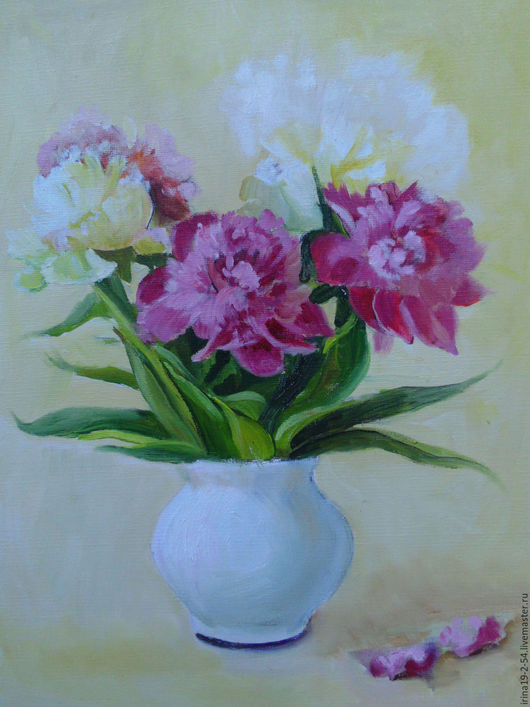 Картины цветов ручной работы. Ярмарка Мастеров - ручная работа. Купить пионы. Handmade. Подарок девушке, подарок женщине, цветы