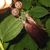 Украшения handmade. Livemaster - original item Earrings tassels brown ruby natural. Handmade.
