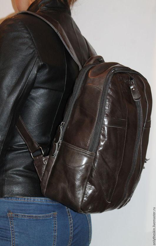 Рюкзаки ручной работы. Ярмарка Мастеров - ручная работа. Купить Рюкзак из натуральной коровьей кожи. Handmade. Коричневый, рюкзачок кожаный
