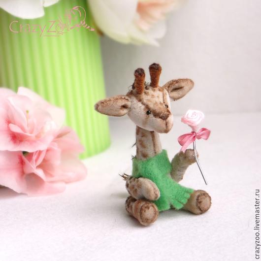 Игрушки животные, ручной работы. Ярмарка Мастеров - ручная работа. Купить Миниатюрный жираф тедди. Handmade. Жираф, малыш, подарок