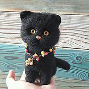 Куклы и игрушки handmade. Livemaster - original item Black cat wool. Handmade.