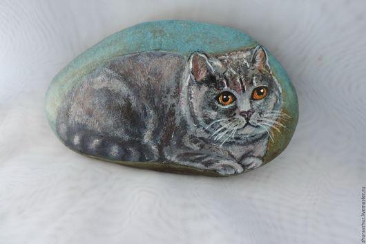 Роспись по камню ручной работы. Ярмарка Мастеров - ручная работа. Купить Картина на камне ,кот серый британец. Handmade. Серый